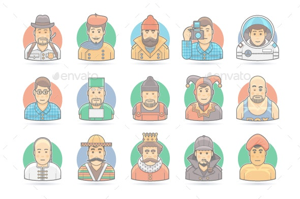 15 Flat People Cartoon Icons Set - People Characters