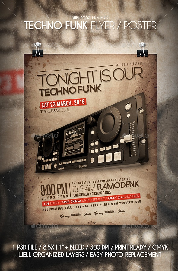 Techno Funk Flyer / Poster - Clubs & Parties Events