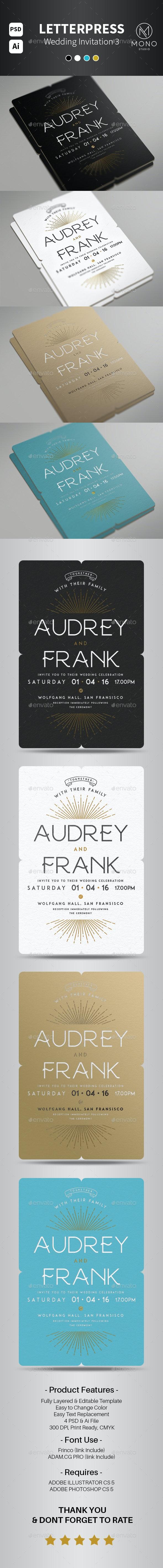 Letterpress Wedding Invitation Set 3 - Invitations Cards & Invites