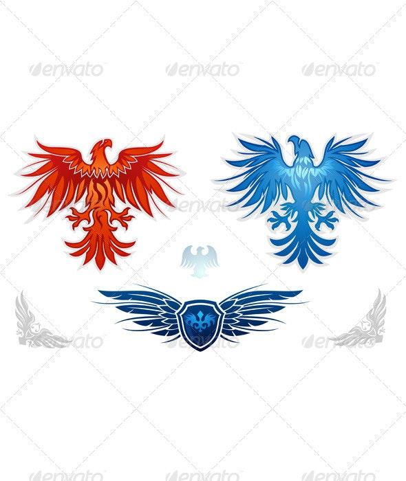 Heraldic eagles vector set - Animals Characters