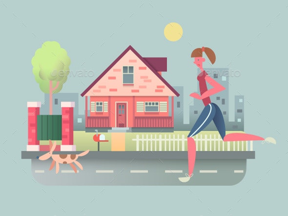 Woman Run With Dog On Street - People Characters