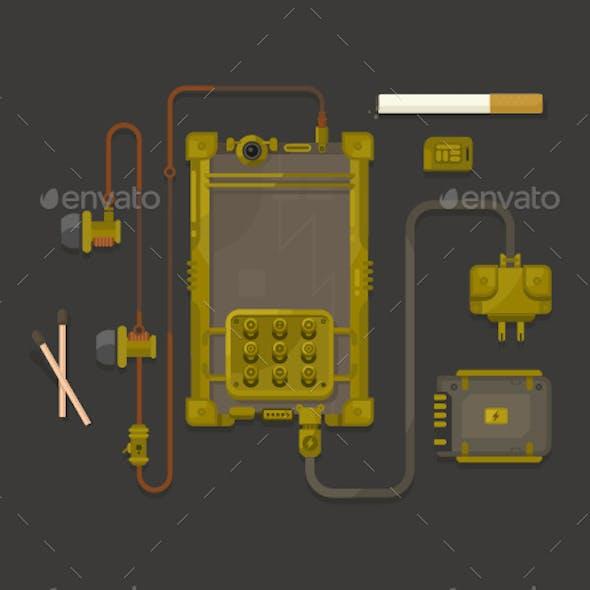 Steampunk Design Mobile Phone Flat