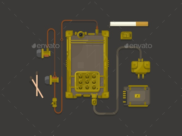 Steampunk Design Mobile Phone Flat - Objects Vectors