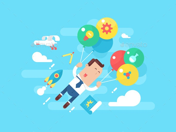 Business Man Fly With Balloons. Concept Startup - People Characters
