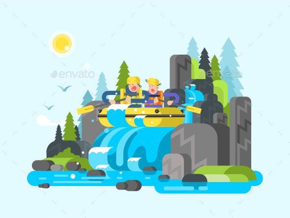 Water River Slalom Rafting - People Characters