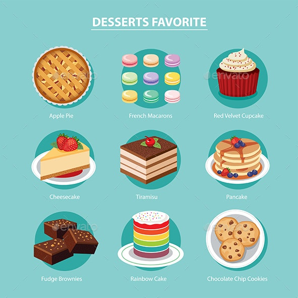 Desserts Favorite Set Flat Design - Food Objects