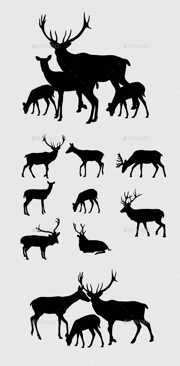 Deer Silhouettes - Animals Characters