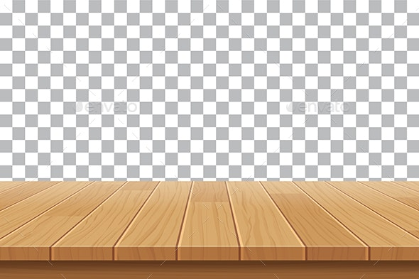 Wood Table Top on Isolated Background - Backgrounds Decorative