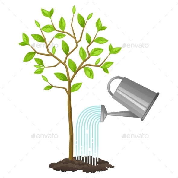 Illustration of Watering Tree from Can - Flowers & Plants Nature