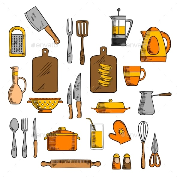 Kitchenware and Kitchen Utensil Icons - Man-made Objects Objects