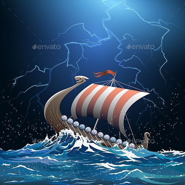 Viking Medieval Warship in Stormy Sea - Miscellaneous Conceptual