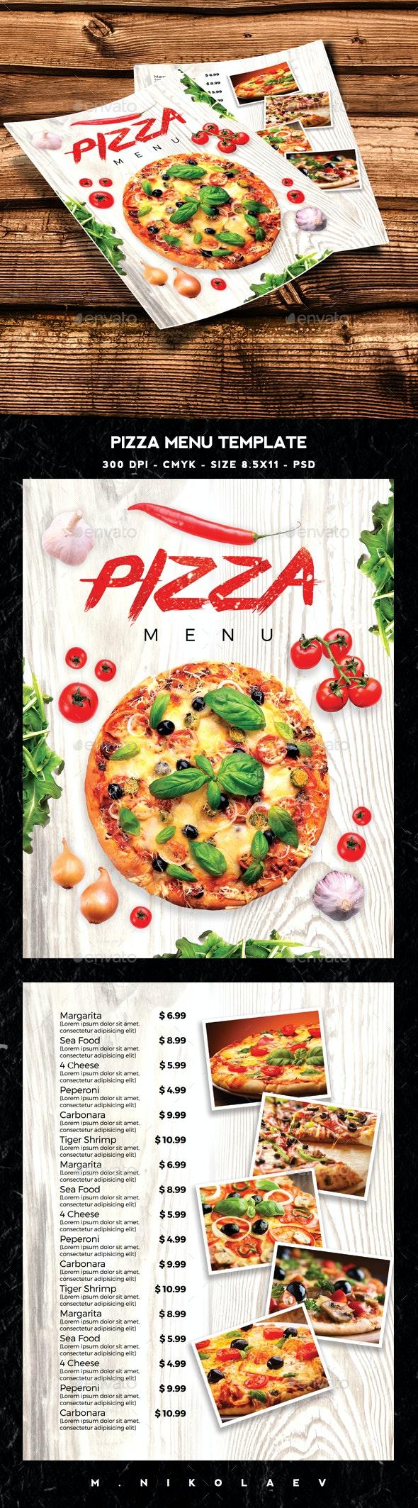 Pizza Menu Template - Food Menus Print Templates