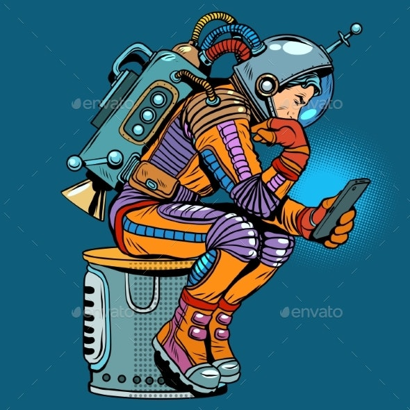 Retro Astronaut With a Smartphone - People Characters