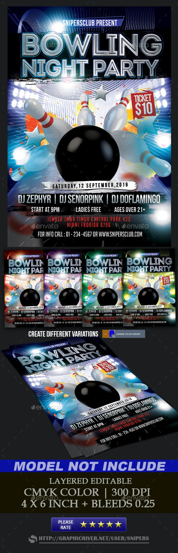 Bowling Night Party - Events Flyers