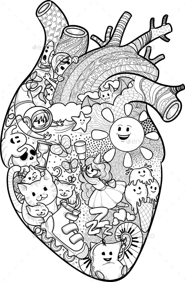 Anatomical Heart With Funny Doodles - Patterns Decorative