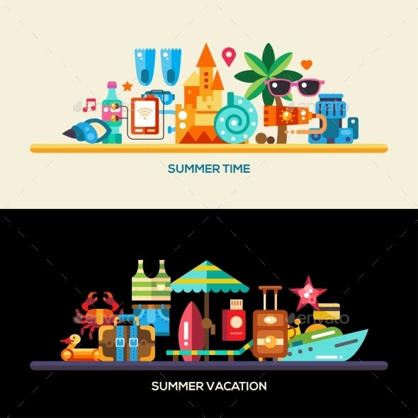 Flat Design Seaside Travel Vacation Banners Set - Travel Conceptual