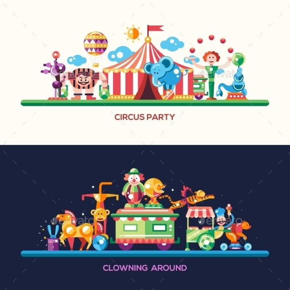 Flat Design Circus And Carnival Banners, Headers - Seasons/Holidays Conceptual