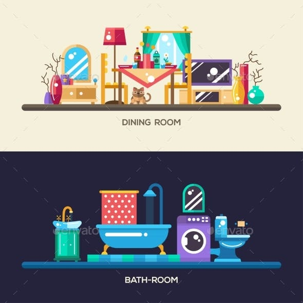 Flat Design Home Interior Banners, Headers Set