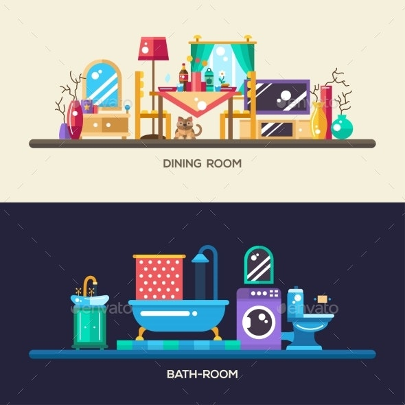 Flat Design Home Interior Banners, Headers Set - Man-made Objects Objects