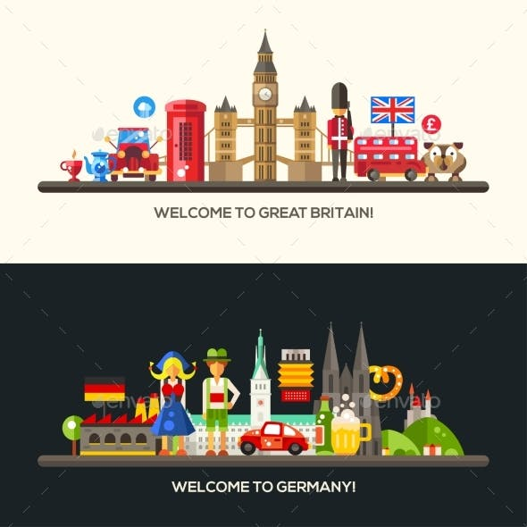 Germany, Great Britain Travel Banners Set