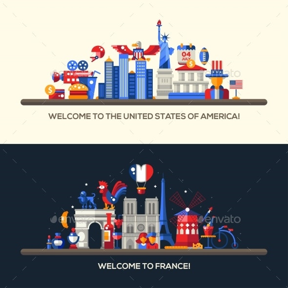 France, USA Travel Banners Set With Famous French - Travel Conceptual
