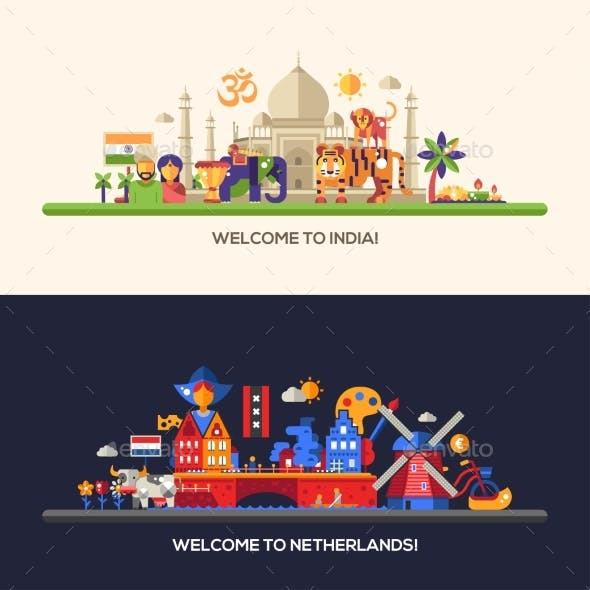 Flat Design Holland, India Travel Banners Set