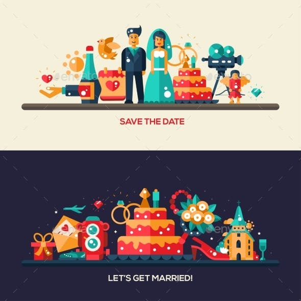 Flat Design Wedding And Marriage Banners Set