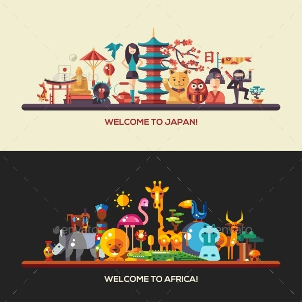 Flat Design Africa, Japan Travel Banners Set - Travel Conceptual