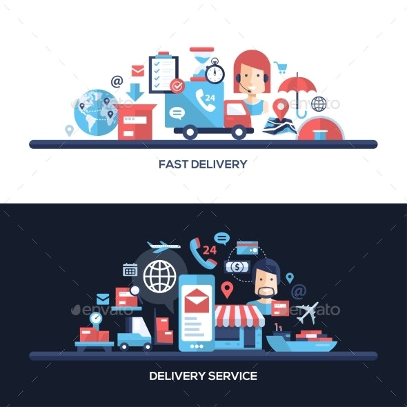 Flat Design Delivery Service Website Headers - Industries Business