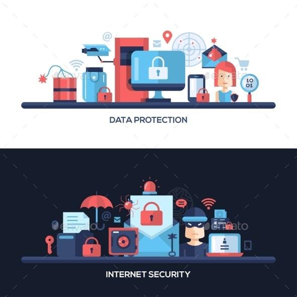 Flat Design Website Data Security Headers Banners