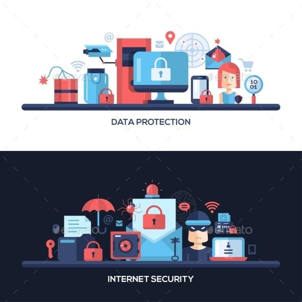 Flat Design Website Data Security Headers Banners - Technology Conceptual