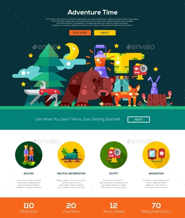 Camping, Hiking Website Header Banner - Sports/Activity Conceptual