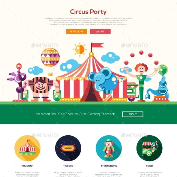 Circus, Carnival Party Website Header Banner