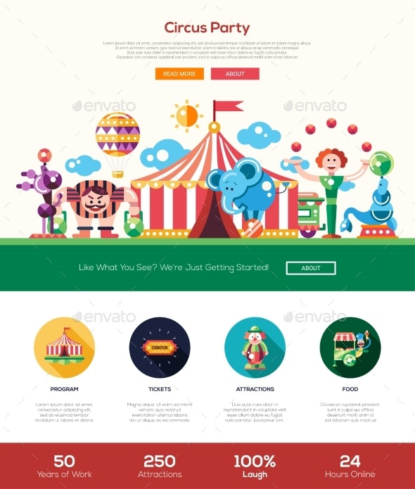 Circus, Carnival Party Website Header Banner - Seasons/Holidays Conceptual