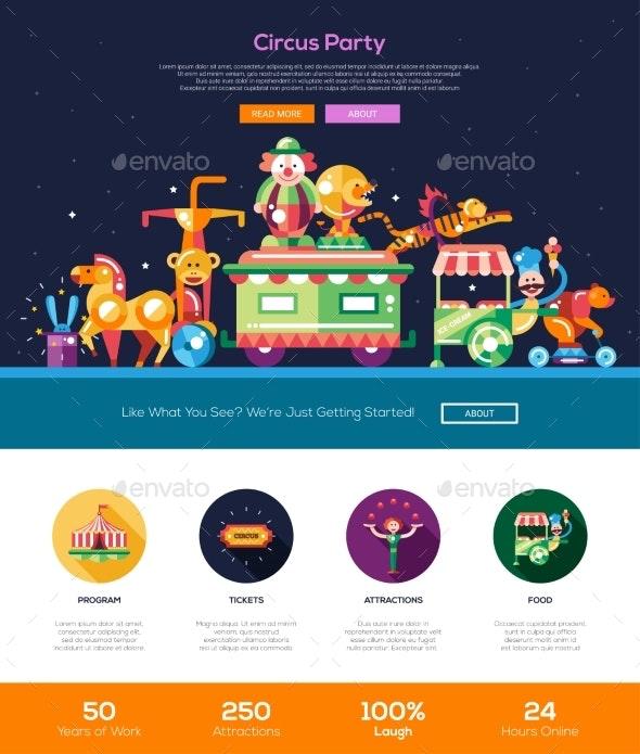 Circus, Carnival Party Website Header Banner - Web Elements Vectors