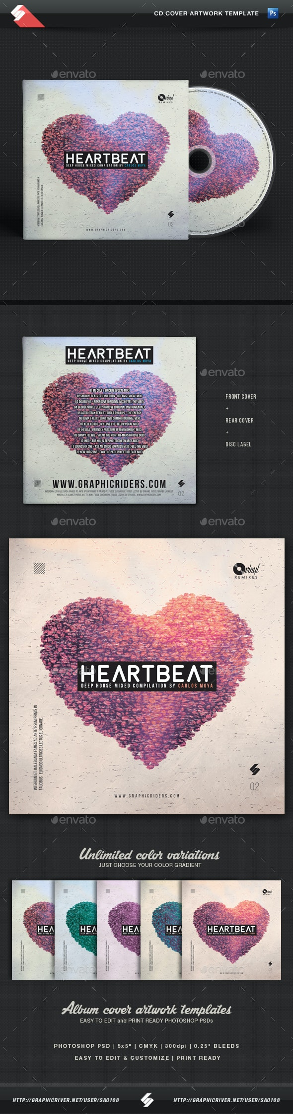 Heartbeat - House Music Compilation CD Cover Template - CD & DVD Artwork Print Templates