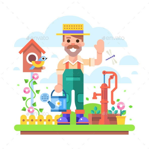 Gardener with a Watering Can - People Characters