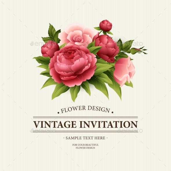 Vintage  Greeting Card with Blooming Peony