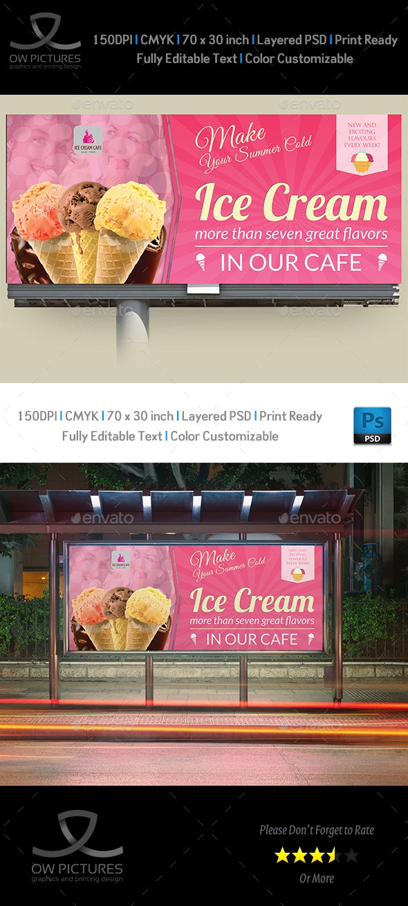 Ice Cream Billboard Template Vol.4 - Signage Print Templates