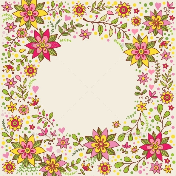 Floral Frame with Flowers and Place for Text - Borders Decorative