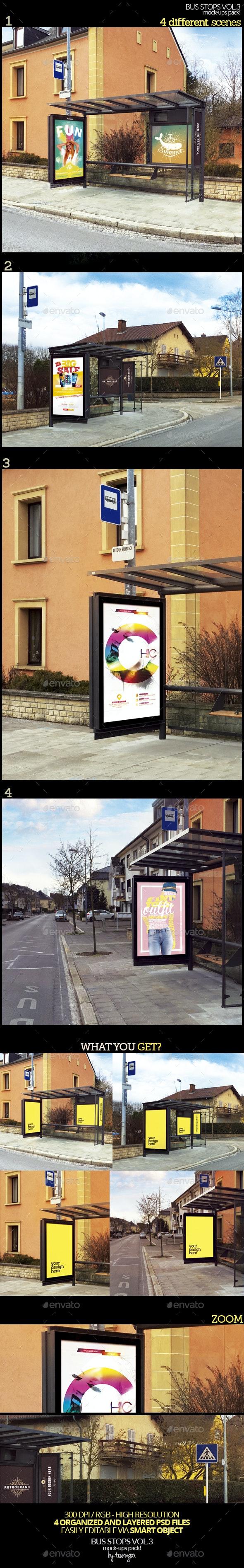 Bus Stops Vol.3 Mock-Ups Pack - Product Mock-Ups Graphics