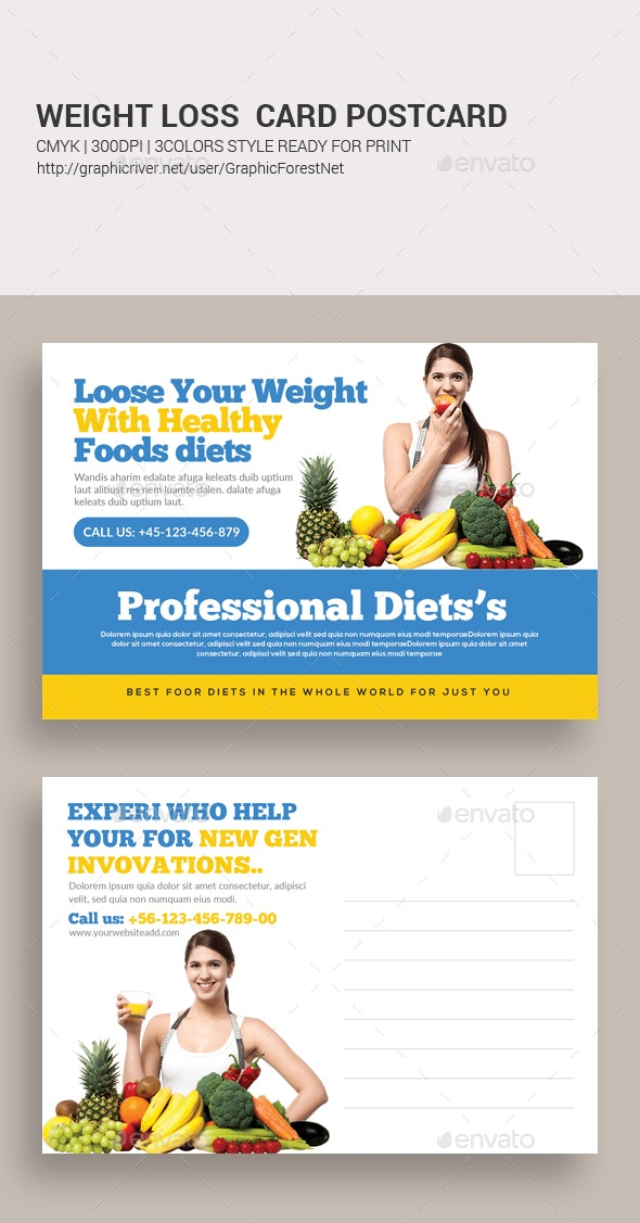 Fitness Weight Lose Postcard - Cards & Invites Print Templates