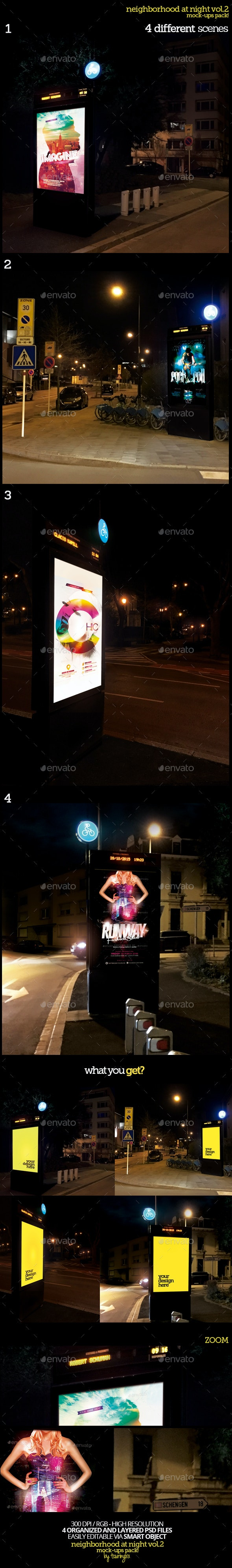 Neighborhood At Night Vol.2 Mock-Ups Pack - Product Mock-Ups Graphics