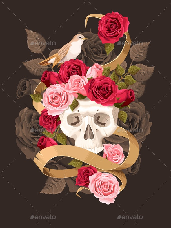 Human Skull with Roses - Flowers & Plants Nature