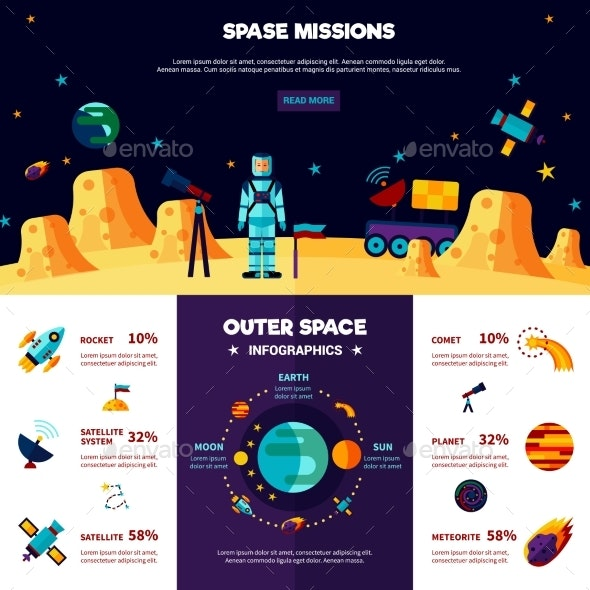 Outer Space Missions Flat Banners Composition  - Miscellaneous Conceptual