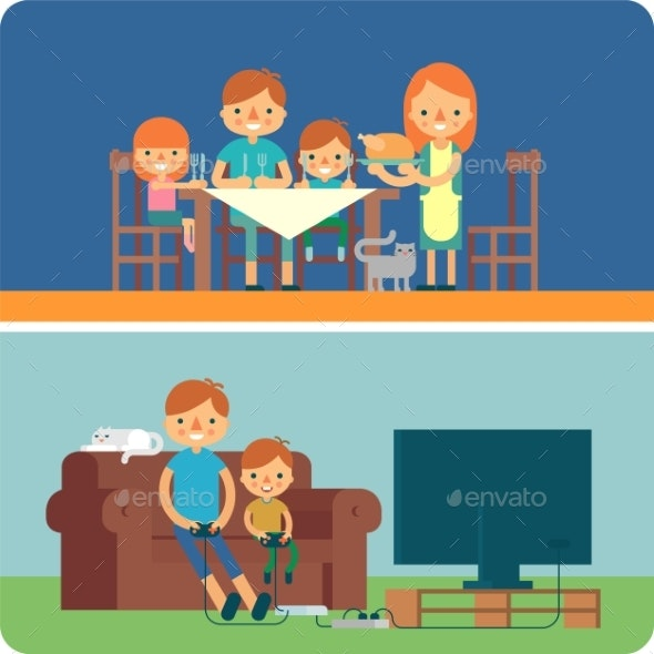 Family Inside Home Illustration - People Characters