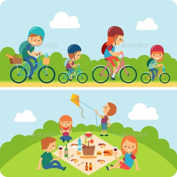 Picnic Family Flat Illustration - People Characters