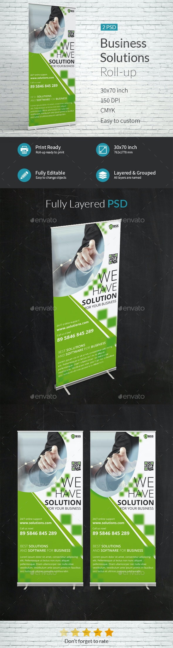 Business Solutions Company Roll-up Template - Signage Print Templates