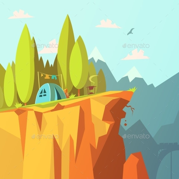 Tent On A Cliff Illustration  - Travel Conceptual