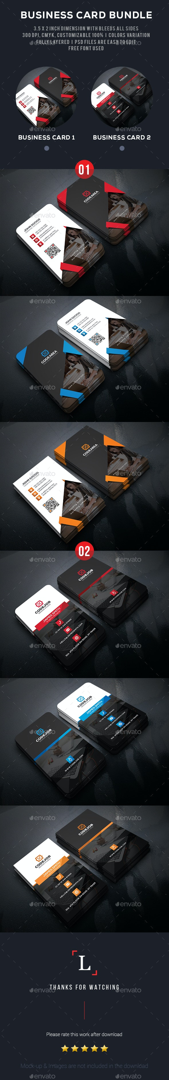 Dark Business Card Bundle - Business Cards Print Templates